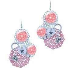 Boucles d'oreilles rose corail breloques argent - boucle d'oreille by milacréa