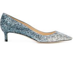 6f24a58c3d2b Jimmy Choo Romy 40 Glittered Leather Pumps ( 735) ❤ liked on Polyvore  featuring shoes