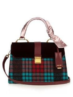 fb04dc6f7c5 Check velvet leather shoulder bag | Miu Miu | MATCHESFASHION.COM Luxury Bags,  Shoulder