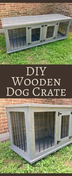 DIY Wooden Dog Crate - would look great with a rustic farmhouse styled house! Double dog kennel, Do It Yourself Dog bed home decor, Rustic decor, Farmhouse decor #ad #dogcrate