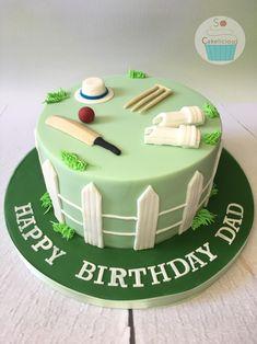 Cricket themed cake Cricket Birthday Cake, Cricket Theme Cake, Soccer Birthday Cakes, Avengers Birthday Cakes, 70th Birthday Cake, Soccer Cake, Adult Birthday Cakes, Themed Birthday Cakes, Gym Cake
