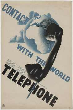 E. McKnight Kauffer. Contact With the World, Use the Telephone. 1934