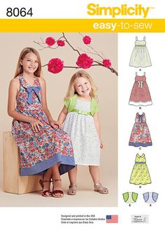 abbf72bd1d5cc Child s and Girls  Dresses and Bolero Sewing Patterns For Kids
