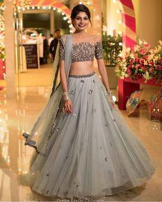 Two Piece Prom Dresses Scoop Floor-length A-line Tulle Sparkly Long Prom Dress - Designer Dresses Couture Indian Lehenga, Lehenga Choli, Anarkali, Patiala Salwar, Indian Wedding Outfits, Bridal Outfits, Wedding Attire, Indian Designer Outfits, Designer Dresses