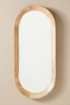 Oscar Oval Mirror by Anthropologie in Beige, Wall Decor Wood Mirror Bathroom, Wall Mirrors, Decorating A New Home, Glass Fit, Minimalist Office, Oval Mirror, Organic Modern, Wall Treatments, Diy On A Budget
