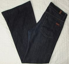 Women 7 for all Mankind Jeans Ginger Dark Wash Flare Mid Rise sz 27 X 31 EUC