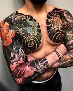 Japanese tattoo sleeves by @mark_corliss_tattoo. #japaneseink #japanesetattoo #irezumi #tebori #colortattoo #colorfultattoo #cooltattoo #largetattoo #armtattoo #chesttattoo #tattoosleeve #flowertattoo #chrysanthemumtattoo #dragontattoo #blackwork #blackink #blacktattoo #wavetattoo #naturetattoo