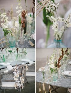 Bohemian Summer Wedding Inspiration. I love the ribbons and seaglass scattered down the table.