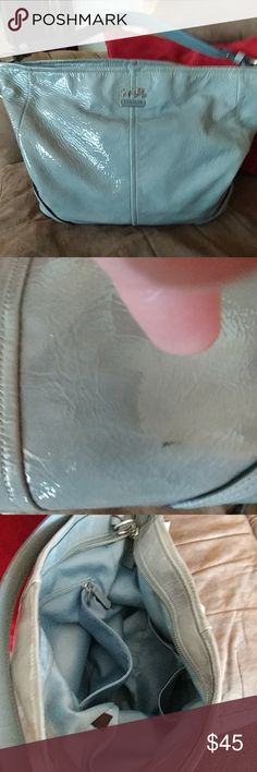 Coach handbag Grey patent leather Coach satchel, with mint green inside. Small mark on bottom backside of the bag, reflective in price. Inside is spotless.  Used only a couple times. Includes dustbag. Offers welcome!! Coach Bags Shoulder Bags