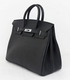 Сумка Hermes Birkin черная кожа, серебряная фурнитура. Натуральная кожа, самая качественная версия без наценок магазина