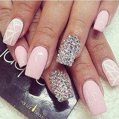 Pretty pink nails with crystal detail