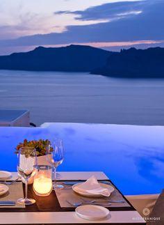 Romantic dining at the Anthos Restaurant at Kirini Suites & Spa in Santorini