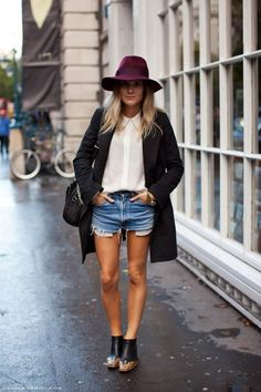 stylish jeans shorts + hat