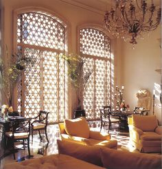 Michael Taylor Interior Design  Moroccan-inspired grille work.