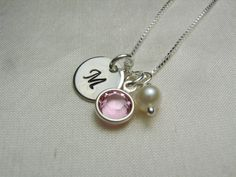 Birthstone Necklace - Sterling Silver Initial Personalized Jewelry. $24.00, via Etsy.