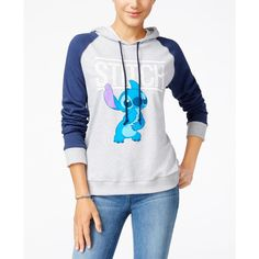 Mighty Fine Juniors' Disney Stitch Graphic Hoodie ($17) ❤ liked on Polyvore featuring tops, hoodies, sweatshirt hoodies, hooded pullover, graphic hoodie, stitch top and mighty fine