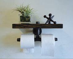 Stedelijke industri le stijl muurbevestiging pipetoilet ijzer papierhouder roller houten plank - Decoratie van toiletten ...