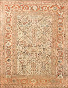 This Beautiful antique ivory colored background Persian Sultanabad rug #50576 is available through the Nazmiyal Antique Carpet Gallery in NYC.
