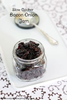 Slow Cooker Bacon Jam - what an interesting twist on jam! This would be great for a fall/winter party with some cheese and crackers.