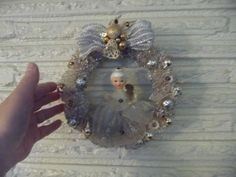 Sweet Vintage Small Bottle Brush Wreath w Ceramic door chickitout