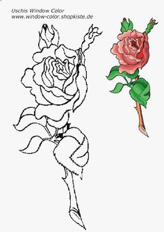 Blumen-Vorlagen 1 Tree Leaves, Colorful Flowers, Coloring Pages, Sketches, Trees, Windows, Draw, Tattoo, Embroidery