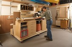 wood workbench with storage and some workspace