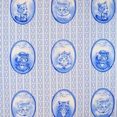 MUST DO SOMETHING WITH THIS! Michael Miller House Designer - Blue and White - Cat Portraits in Blue