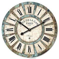 Eruner Wooden Clock, Vintage Wood Wall Clock - [Cafe De La Gare] Retro Style France Paris London Country Non-Ticking Silent Wooden Wall Clock ( Wall Clock Wooden, Rustic Wall Clocks, Wood Clocks, Wooden Walls, Wall Wood, Clock Wall, Wooden Desk, Desk Clock, Clock Vintage