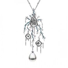 Fire & Ice Empress of Winter necklace in white gold, with South Sea pearls, unique sliced diamonds and white and treated blue diamonds by Au...
