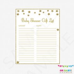 Gold Baby Shower Gift List Twinkle Twinkle Little Star Baby