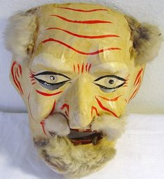 Vintage Paper Mache and Fur Mask, Mexican Folk Art Mask