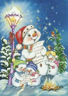 quenalbertini: Snowman and friends by Patricia Adams Christmas Scenes, Vintage Christmas Cards, Christmas Pictures, Christmas Snowman, Winter Christmas, Christmas Time, Christmas Crafts, Christmas Decorations, Country Christmas