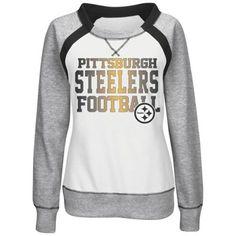 Pittsburgh Steelers Majestic Women's Counter IV Crew Fleece Sweatshirt - White/Gray