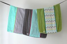Baby Burp Cloth Gift Set of 3 Aqua Grey and Wasabi by owesley
