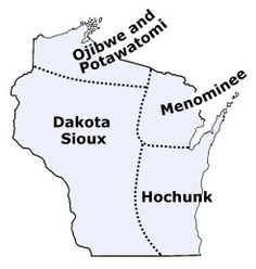Map of Wisconsin tribes in the past