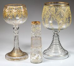 Vintage Bohemian Moser style decorated clear glass wtith enamel and gilt  comprising 2 large chalices and a tapered vase