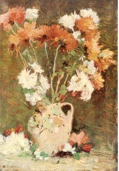 Chrysanthemums - Stefan Luchian Art Floral, Art And Illustration, Vintage Wall Art, Orange Flowers, Art And Architecture, Art World, Impressionism, Art History, Flower Art