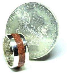 American silver eagle coin ring with sesame Jasper birthstone Silver Eagle Coins, Silver Eagles, Coin Ring, Red Jasper, Unique Colors, Birthstones, Wedding Bands, Custom Design, Rings For Men