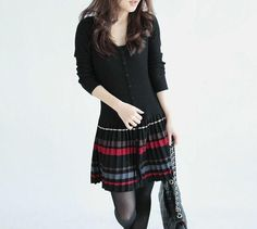 Pleated Skirt Sweater dress - Sassy Posh - 2