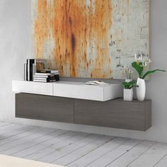 Buffet laquée mural InclinART - 311 By Presotto design Pierangelo Sciuto Floating Wall Unit, New Interior Design, Wall Design, Sideboard, The Unit, Cabinet, Storage, House, Furniture