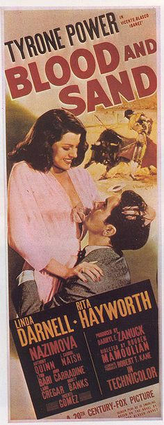 Blood and Sand don't mix...  Except in this movie with Tyrone Power, Linda Darnell, and someone named Hayworth who is listed AFTER Linda Darnell... Please...
