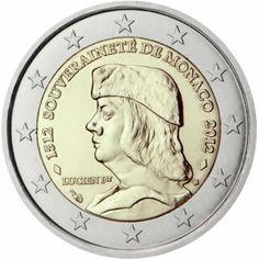 2 euro commémorative 2012 Monaco - Commémoration du 500ème anniversaire de la fondation de la souveraineté de Monaco  : tirage 100 000 ex