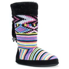MUK LUKS Women's Winona Cuffed Boot Slippers ($36) ❤ liked on Polyvore featuring shoes, slippers and black