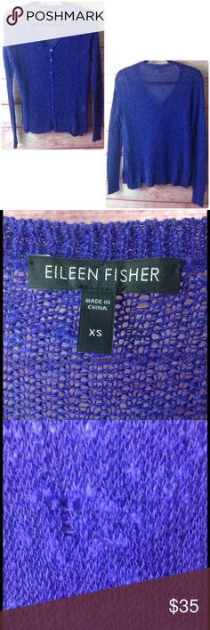 EILEEN FISHER Violet blue button up Cardigan XS EILEEN FISHER Violet Blue long sleeve button up cardigan, gorgeous color, cotton linen blend, length 25 inches, bust 38 inches, pull in thread on front needs a fix otherwise great unworn condition Eileen Fisher Sweaters Cardigans