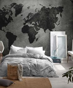 World map mural simons # World Map Bedroom, World Map Mural, World Map Decor, World Map On Wall, World Maps, Bedroom Murals, Room Decor Bedroom, Home Bedroom, Luxury Home Accessories
