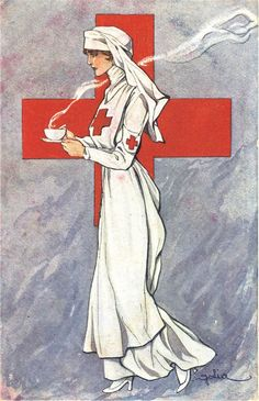 An illustration of a nurse carrying a hot beverage, ca. Pictures of Nursing: The Zwerdling Postcard Collection. National Library of Medicine