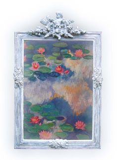 Antique French 18Th Cen French mirror designed by my own fair hands .from ciel de lit. with my monet painting as a reflection, hope you like my work. this is now sold to a lovely French restaurant.