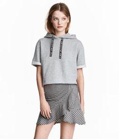 Short Hooded Top | Gray melange | Women | H&M US