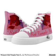 """Red Temple Tent Poetry Women's Custom Zipz High Top Shoes. The """"Red Temple Tent"""" is a compilation of original micropoetry and images that celebrate the sisterhood of women and their unique attributes, strengths, and collective experiences throughout the cycle of life. Poem reads: Welcome to my red temple tent / Enter at your own risk / You may find me heaven-sent / Or hellbent / Maiden, mother, crone / There's no place like home / Where I reign as the / Queen of my domain / In my red temple…"""