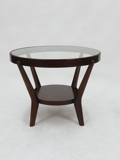 Jindrich Halabala 1930s Art Deco round oak side table with glass top